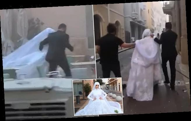Bride posing for wedding photoshoot sent flying by explosion in Beirut