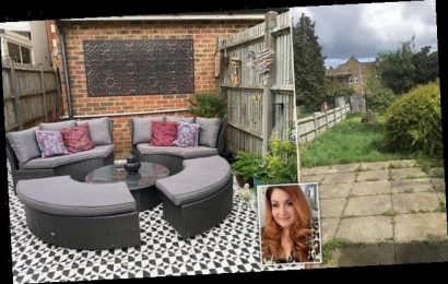 Savvy mother transforms her courtyard into a stylish patio for £116