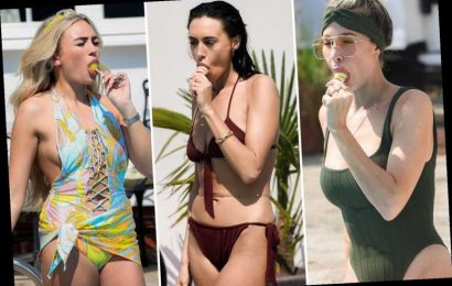 Towie girls get a mouthful as they cool down with ice lollies by the pool after filming sizzling scenes for new series