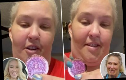 Mama June shows off her 'blinged out' six month sobriety chip