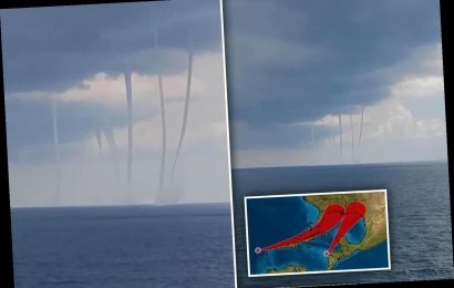 Six waterspouts are seen in Gulf of Mexico as Texas prepares for TWO tropical storms that could hit as hurricanes