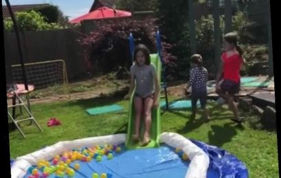 Thrifty mum shows how you can still use a deflated pool as a slip and slide – and her kids are loving it