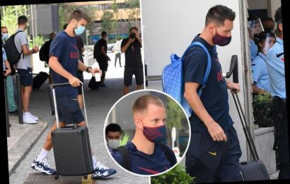 Downbeat Barcelona stars including Lionel Messi look glum as they leave Lisbon hotel following 8-2 loss to Bayern Munich
