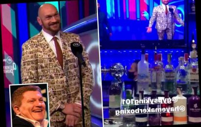 Ricky Hatton taunts Tyson Fury for his 's*** suit' on BT Sport as he watches Dubois Fight Night from a bar