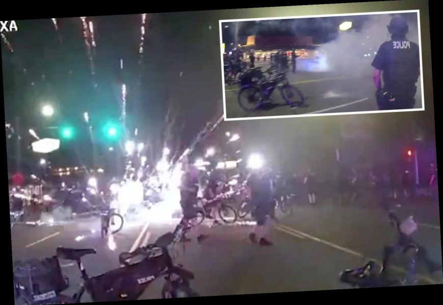 Shock protest video shows Seattle cops being targeted with EXPLOSIVES in night of violence that saw six officers injured