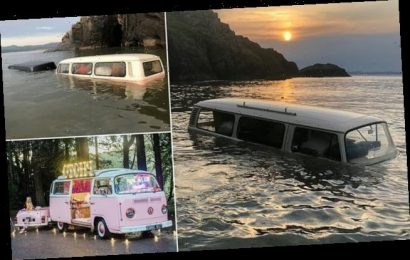 Heartbreaking moment £60,000 VW camper van is submerged by sea water