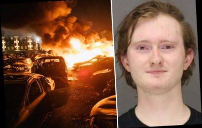 """'Antifa's """"Commander Red"""" carrying a FLAMETHROWER' at Black Lives Matter protest 'burst into tears as cops cuffed him'"""