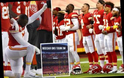 Fans BOO as NFL stars unite against racism after Houston Texans leave field for anthem and Chiefs' Alex Okafor kneels
