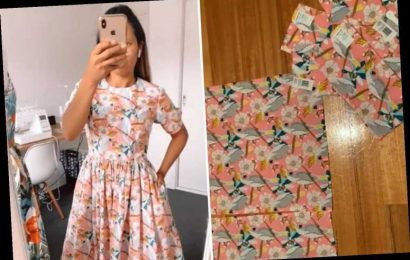 Woman makes stunning dress from TEA TOWELS – and the whole thing only cost a tenner