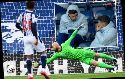 Chelsea fans in hysterics as benched Kepa appears to criticise Cabellero for not saving Robinson's West Brom opener