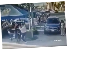 Moment vengeful dad stabs daughter's 'rapist' to death in the street in front of horrified onlookers