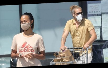 Zoe Saldana & Husband Marco Perego Spend the Afternoon Grocery Shopping Together