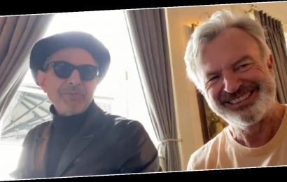 Watch Jeff Goldblum and Sam Neil sing a duet as they reunite on the set of 'Jurassic World: Dominion' 27 years after the original