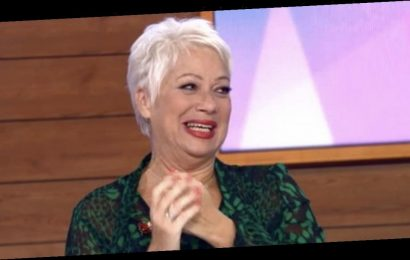 Loose Women's Denise Welch flashes cleavage as she slips into Baywatch costume