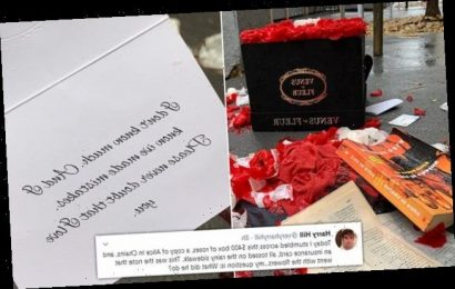 Man shares photos of $399 red roses and an apology dumped in the rain