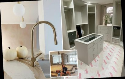 Charlotte Crosby reveals her walk-in wardrobe, luxury marble kitchen and bespoke furniture as she renovates £1m mansion