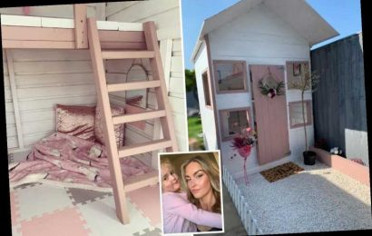 Couple who were quoted £1.5k for a playhouse for their daughter make their own pink palace for a fraction of the price