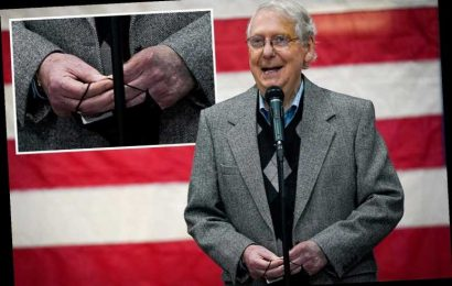 Mitch McConnell seen with 'bruised' fingers AGAIN during Kentucky campaign event days after denying any health problems