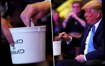 Trump pulls wad of cash from pocket for collection box at Las Vegas church ahead of rally in crucial state