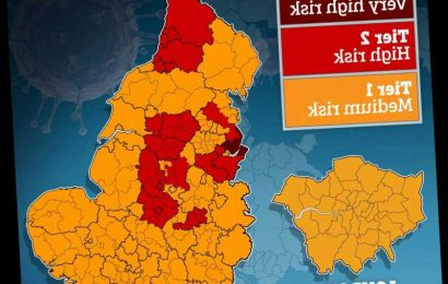 What lockdown tier is YOUR area? Coronavirus maps reveals very high, high and medium risk areas