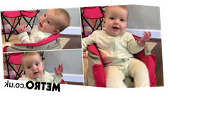 Dad tapes baby chair to Roomba to entertain and clean at the same time