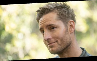 This Is Us star Justin Hartley looks loopy in a protective pod designed for pandemic-safe filming