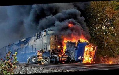 Train slams semi-truck in Indiana after driver gets stuck on tracks