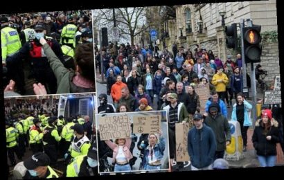 Police haul away anti-lockdown protestors as they march in Bristol