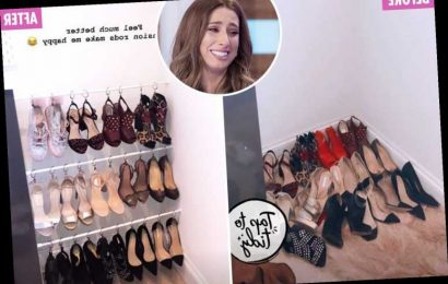 Stacey Solomon shares genius way she keeps her shoes tidy using curtain hooks