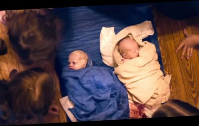 Free birthing mum-of-eight films herself having twins in her living room – and she didn't have any pain relief