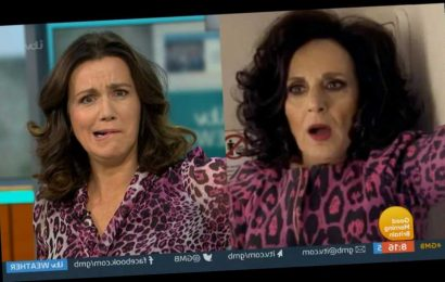 Piers Morgan pokes fun at Susanna Reid for dressing up as Birds of Feather star Dorien Green in pink leopard print