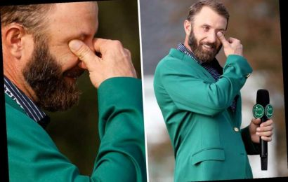 Watch Dustin Johnson wipe away tears while overcome with emotion as he struggles to talk after winning The Masters