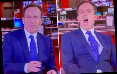 News presenter Ben Brown startled as camera catches him nodding off during bulletin leaving viewers in stitches