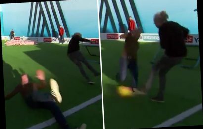 Watch Jamie Carragher wipe out Jimmy Bullard with horror two-footed challenge in chaotic appearance on Soccer AM