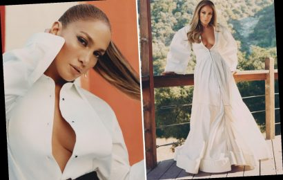 Bride-to-be JLo, 51, is a vision in white as she poses in plunging gown