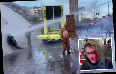 Woman left with fractured skull after Dutch police use water cannon blasting her head into wall