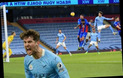 Man City 4 Crystal Palace 0: Stones scores first TWO Premier League goals for City as Pep Guardiola and Co go second