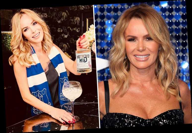 Amanda Holden thrills fans in slinky black nighty with a bottle of gin as she reveals she's an Everton fan