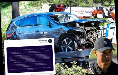 Tiger Woods awake in hospital after suffering multiple open leg fractures in horror 'high speed' car crash