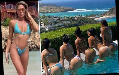 Bikini-clad sports stars including Kelly Kelly enjoy champagne-fuelled boat party and private jet off tropical island