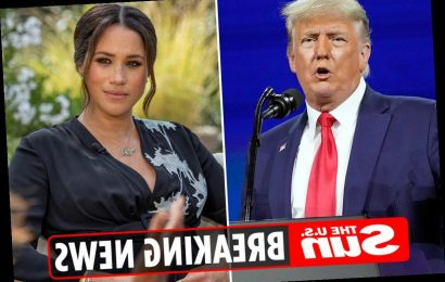 Trump says he HOPES Meghan Markle will run for president in 2024 as he's 'not a fan' & backs Queen after Oprah interview