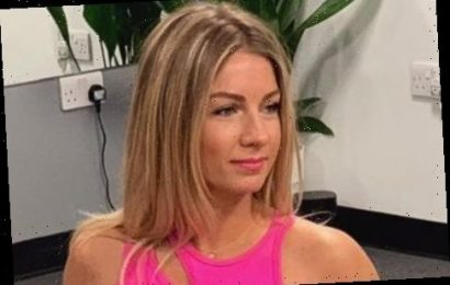 First Dates waitress Cici Coleman flashes her abs in bright pink bra and leggings as she works out