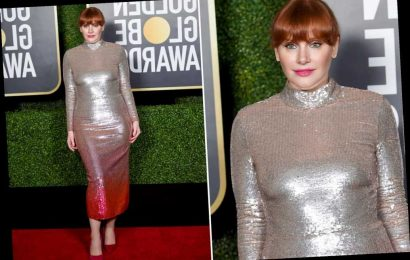 Bryce Dallas Howard matches her dress to her hair at Golden Globes 2021