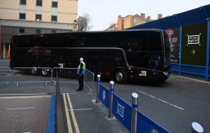 Chelsea kick-off DELAYED as fans protest outside with team bus STUCK and cops make arrests over European Super League