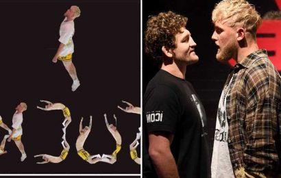 Jake Paul trolled by Ben Askren over bizarre yoga training video as YouTuber sprawls out while balancing on man