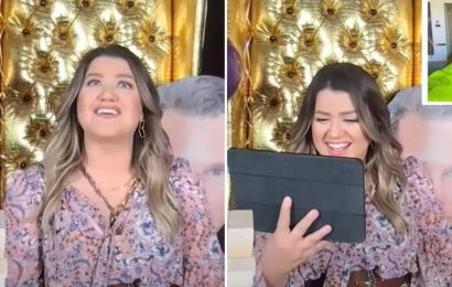 Kelly Clarkson accidentally curses & breaks down in tears during surprise party for 39th birthday on livestream