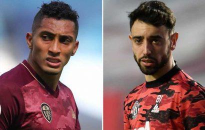 Man Utd star Bruno Fernandes 'always talks about Leeds star Raphinha', reveals Fred as Solskjaer eyes transfer