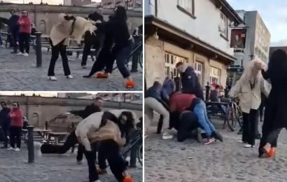 Moment women slap each other in face in hair-pulling fight as tensions flare outside pub