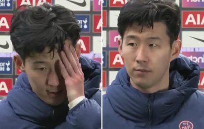 Son close to tears as devastated Tottenham star says he's 'really down' after Man Utd loss and 'not bothered' about goal