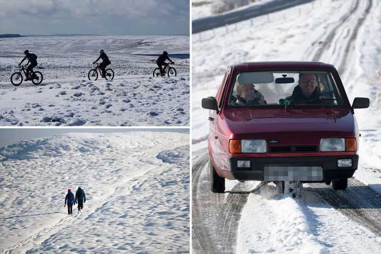 UK weather – Britain blanketed by snow, sleet and hail as temperatures plunge to -5C overnight